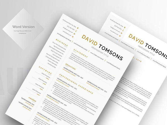 creative free resume template david and tomsons image ideas inspiration on Resume Free Matching Cover Letter And Resume Templates