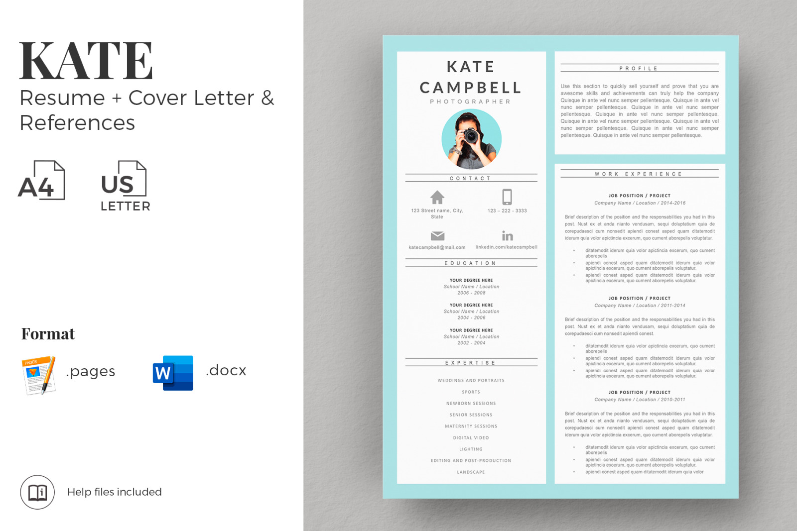 creative resume cv design matching cover letter references free writing guide in Resume Free Matching Cover Letter And Resume Templates