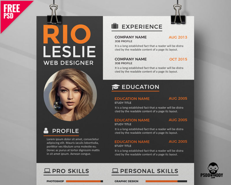 creative resume cv template psddaddy free cover 800x642 weebly externship on for medical Resume Free Creative Resume Download