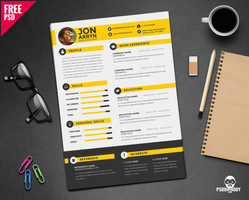 creative resume template free psddaddy cover jennifer hay service for different field Resume Free Creative Resume Download