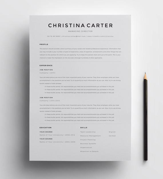 creative resume template minimalist modern etsy il 570xn nd7b examples for quality Resume Minimalist Resume Template