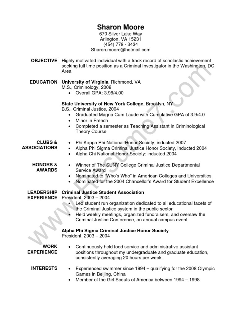 criminial justice resume sample personal growth criminology objective construction Resume Criminology Objective Resume