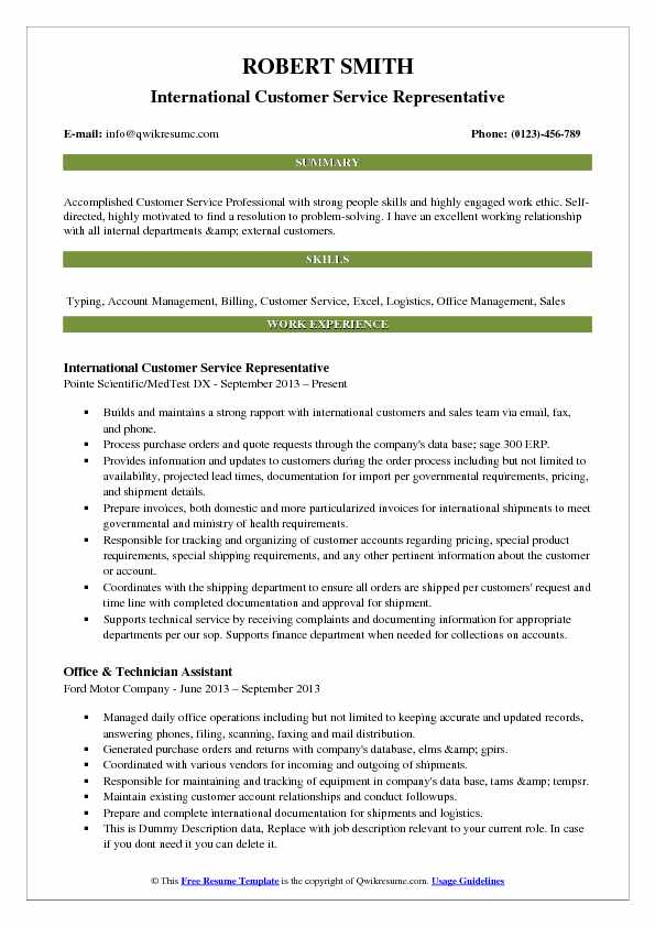 customer service resume samples examples and tips overview international representative Resume Customer Service Resume Overview
