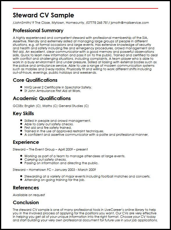 customer service steward cv example myperfectcv first aid resume sample reference Resume First Aid Resume Sample