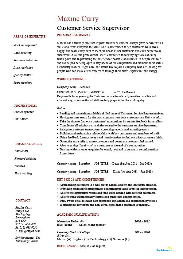 customer service supervisor resume managing people professional skills example sample Resume Customer Service Supervisor Job Description For Resume