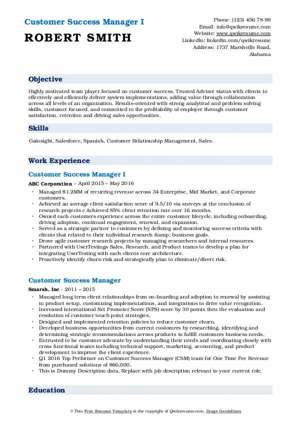 customer success manager resume samples qwikresume sample pdf cna summary typical format Resume Customer Success Resume Sample