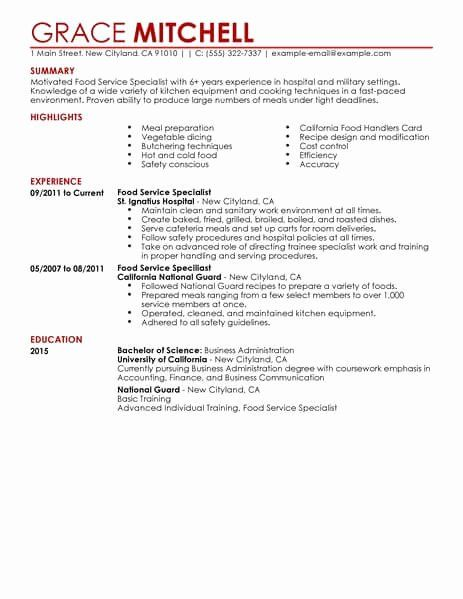 customer support specialist resume inspirational simple food service example in examples Resume Summary For Resume For Food Service
