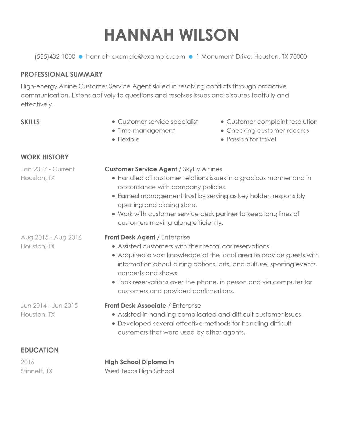 customize our customer representative resume example service overview airline agent Resume Customer Service Resume Overview