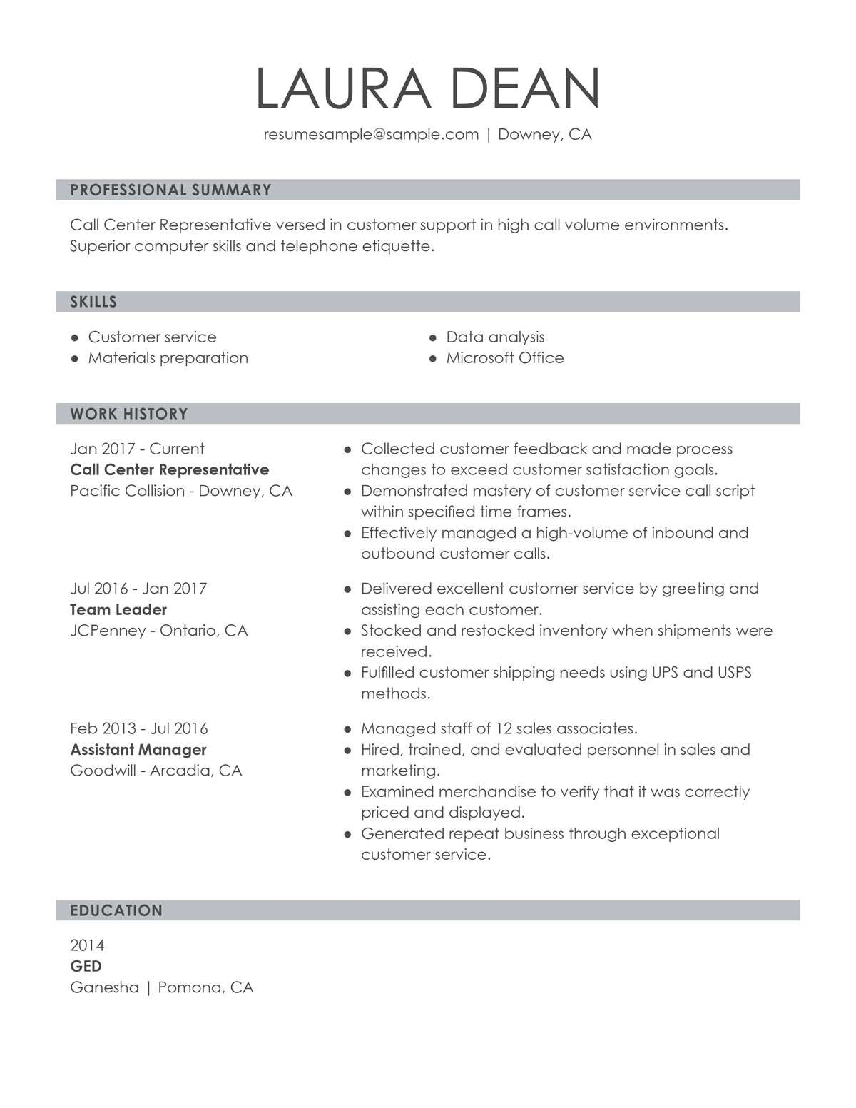 customize our customer representative resume example service overview call center sample Resume Customer Service Resume Overview
