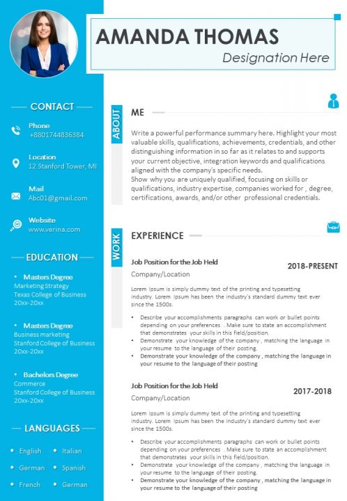 cv design template with designation rewards and skills presentation graphics powerpoint Resume Should You Put Your Picture On Your Resume 2018