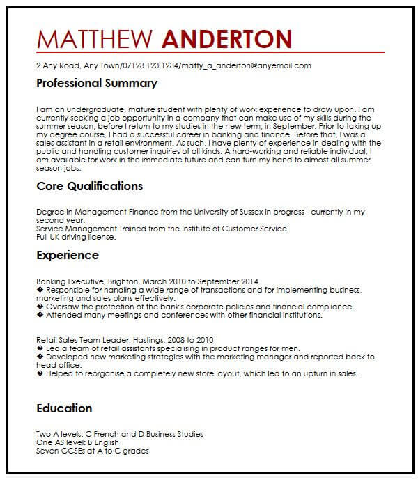 cv example for part time job myperfectcv first resume examples summer receptionist skills Resume First Time Job Resume Examples