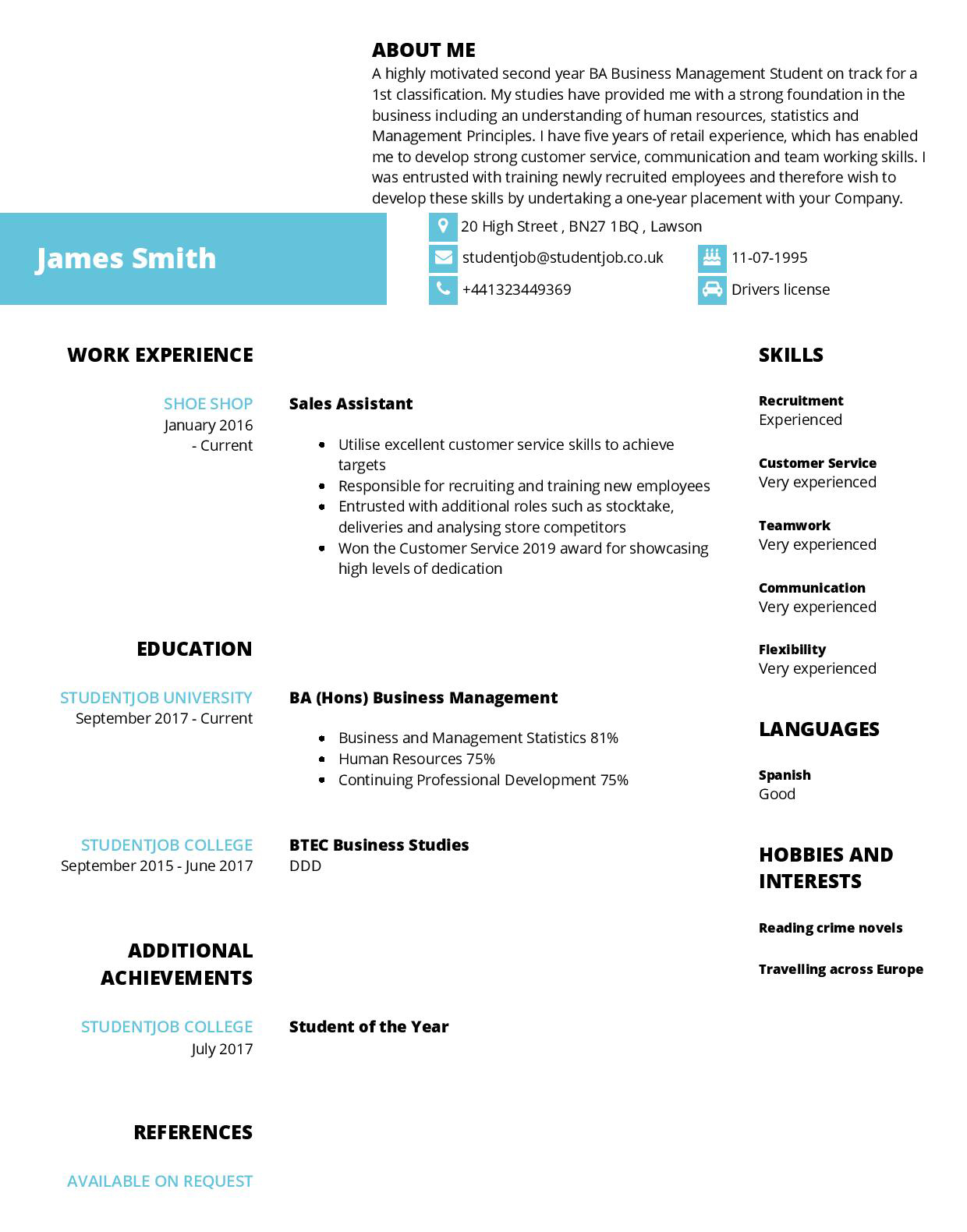 cv examples and templates studentjob university resume samples for students james cropped Resume University Resume Samples For Students