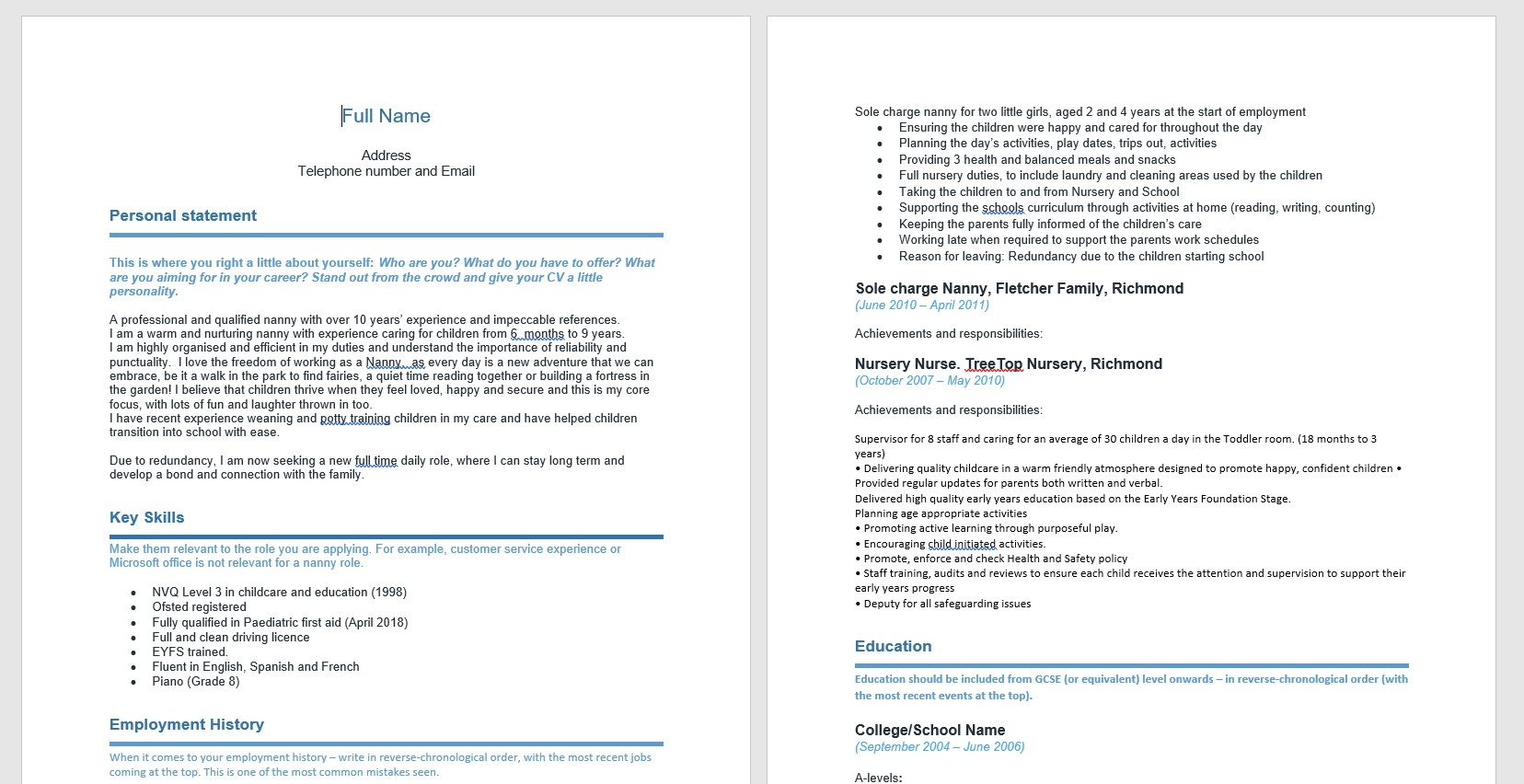 cv for nannies made easy our handy nanny template absolute childcare professional resume Resume Professional Nanny Resume Templates