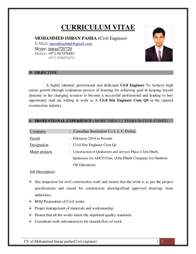 cv of mohammed imran pasha civil engineer curriculum vitae engine resume job format Resume Assistant Civil Engineer Resume