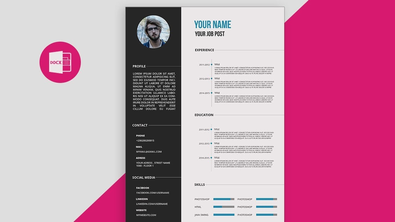 cv resume template design tutorial with microsoft word free pdf music college student don Resume Music Resume Template Word