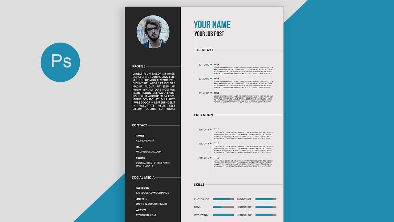 cv resume template design tutorial with photoshop free docs pdf for job process server Resume Resume For Photoshop Job