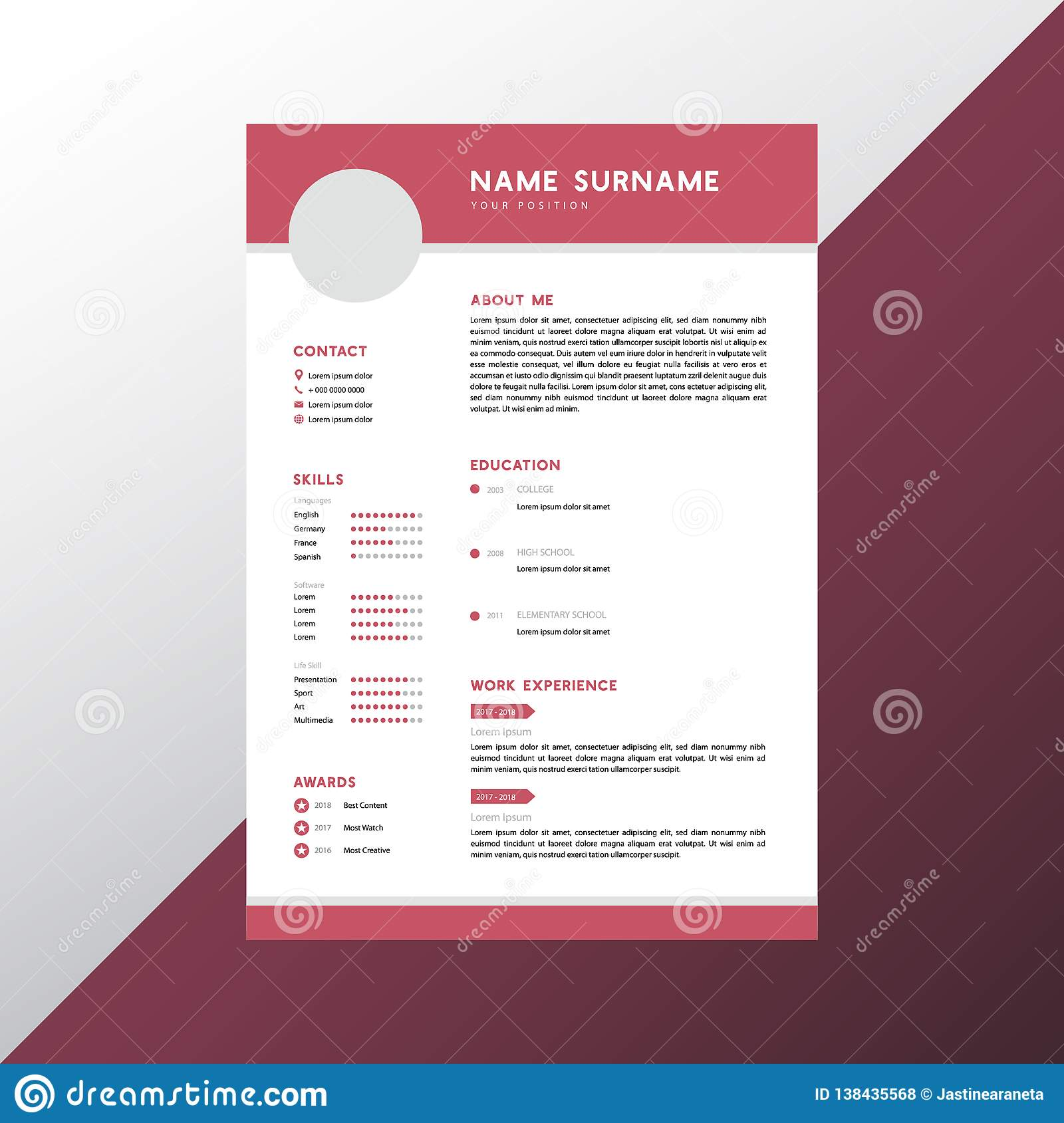 cv resume template photos free royalty stock from dreamstime pink simple modern design Resume Free Stock Photos Resume