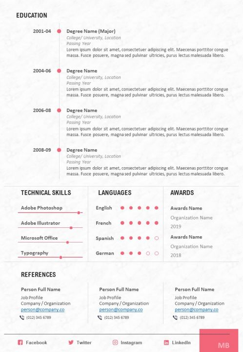 cv sample with technical skills languages and awards powerpoint presentation example of Resume Resume With Language Skills Example