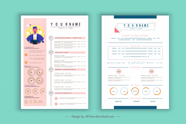 cv template contemporary layout candidate icon decor free vector in adobe illustrator Resume Resume On Adobe Illustrator