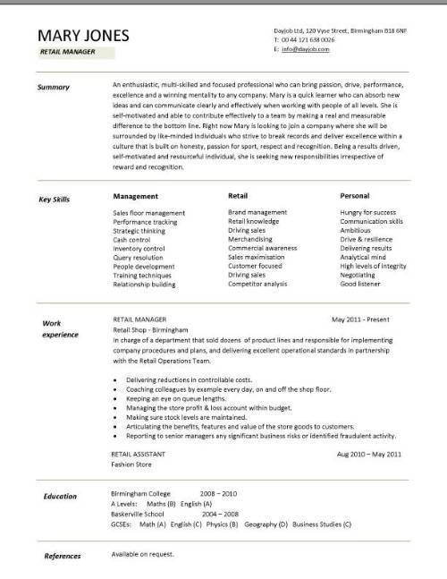 cv template south africa retail resume examples fashion sample for kitchen staff college Resume Fashion Retail Resume Sample