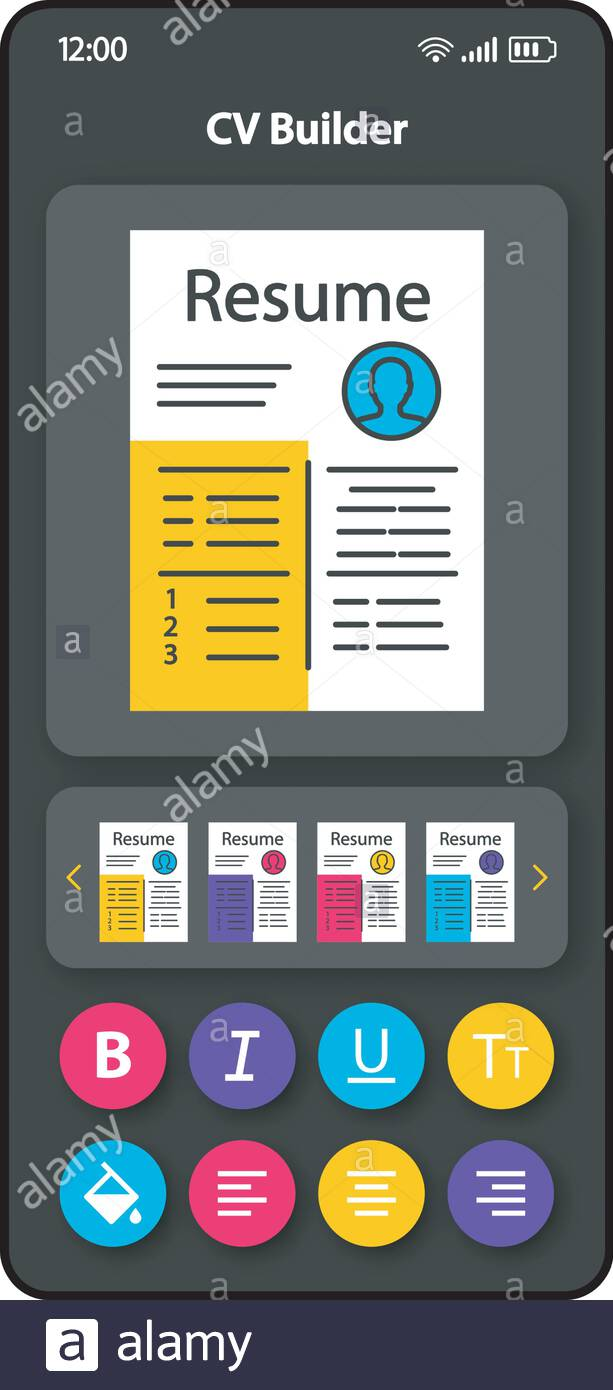 cv writing software smartphone interface vector template color design layout professional Resume Professional Resume Writing Software