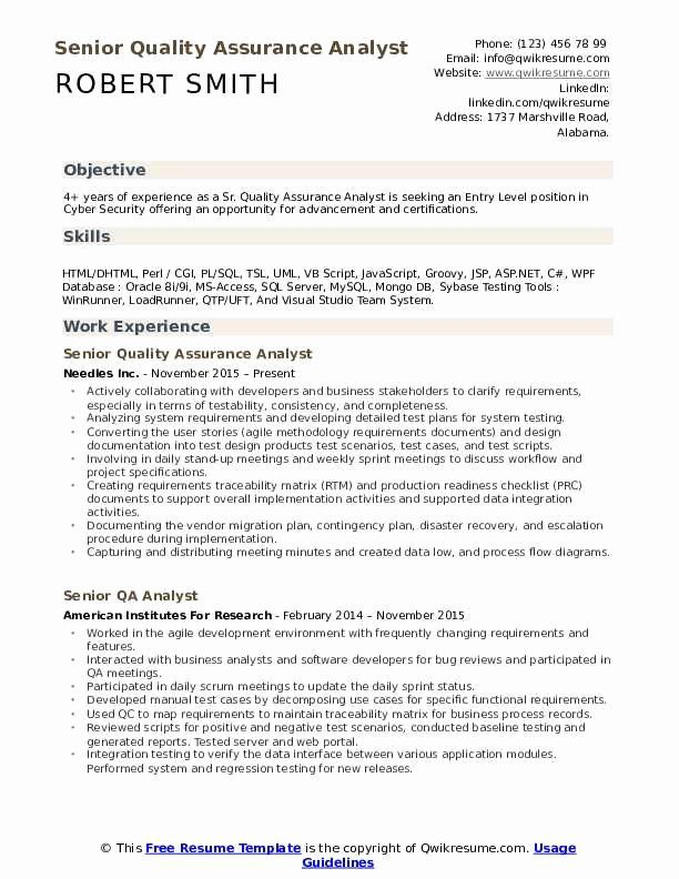 cyber security entry level resume fresh senior quality assurance analyst samples in job Resume Cyber Security Resume Entry Level