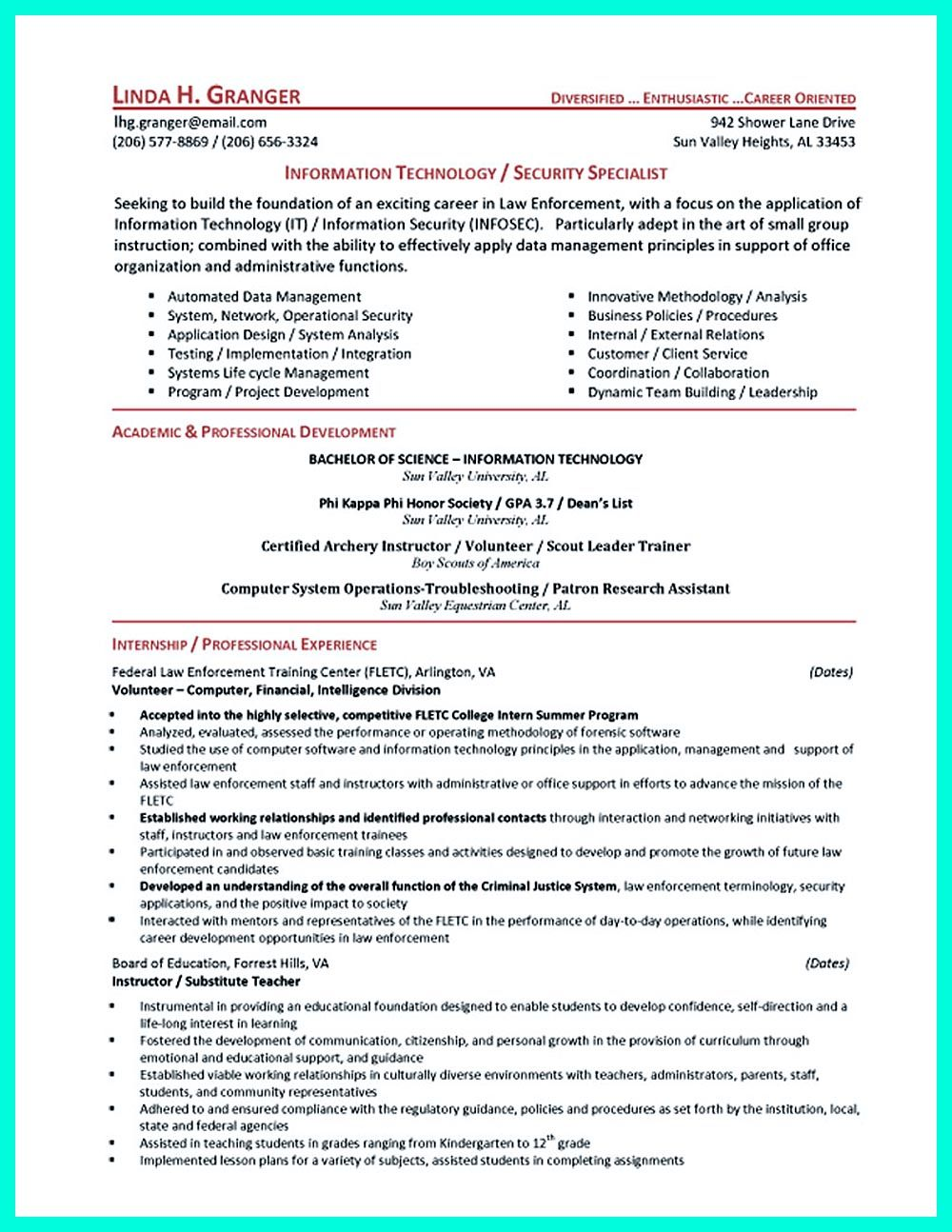 cyber security resume must well created to get the job position as you want positions can Resume Cyber Security Resume Entry Level