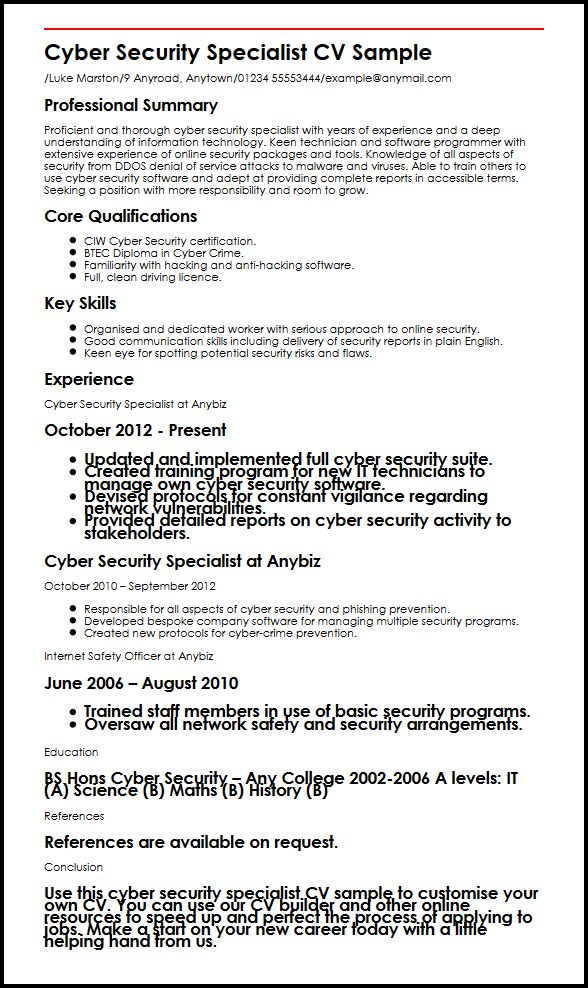 cyber security specialist cv example myperfectcv personal detail resume sample medical Resume Personal Security Detail Resume
