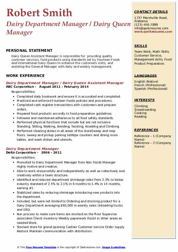 dairy department manager resume samples qwikresume queen sample pdf making your ats Resume Dairy Queen Resume Sample