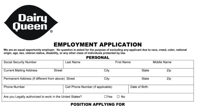 dairy queen job application printable employment pdf forms resume sample pdf1 apply for Resume Dairy Queen Resume Sample