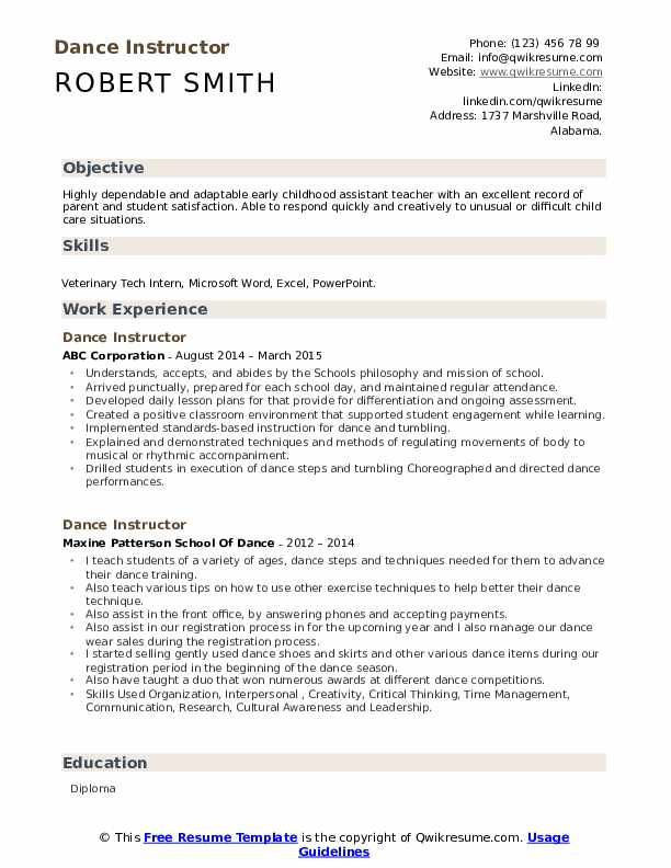 dance instructor resume samples qwikresume for college pdf adaptive skills examples Resume Dance Resume For College