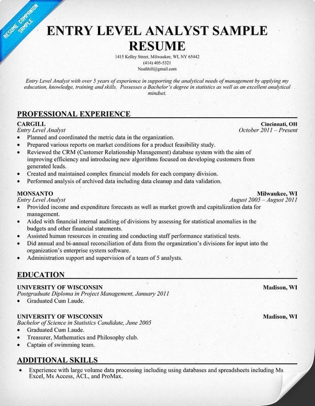 data analyst resume entry level unique to write for business position in template Resume Analyst Resume Examples