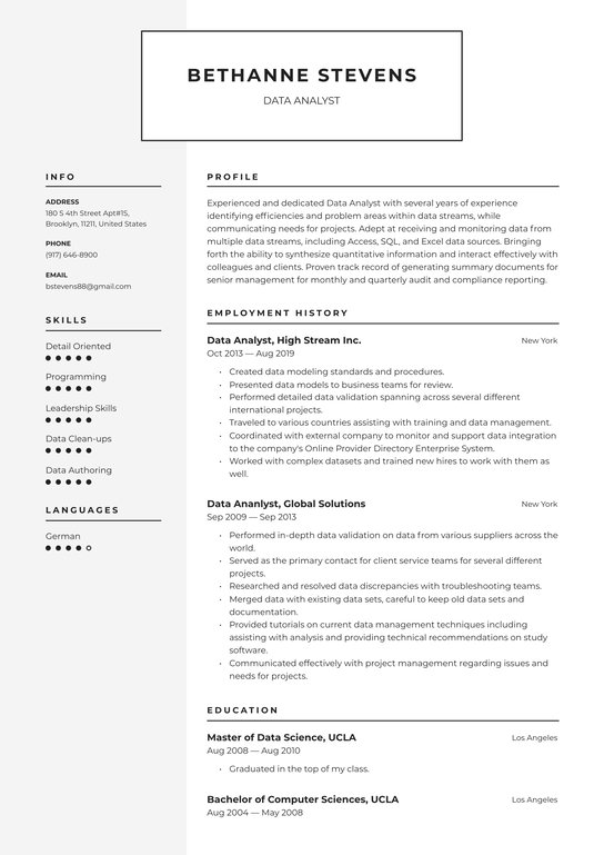 data analyst resume examples writing tips free guide io research coordinator program Resume Analyst Resume Examples