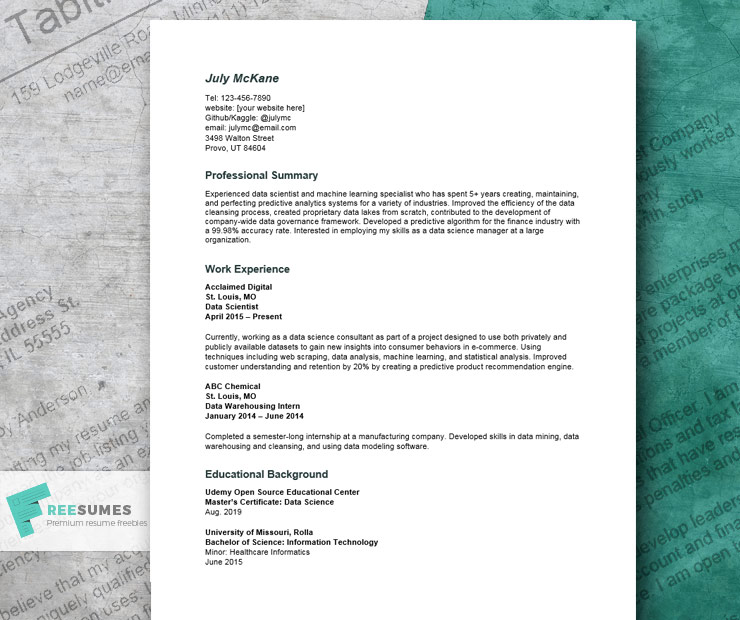 data science resume example land the sexiest job in 21st century freesumes web scraping Resume Web Scraping Resume Sample