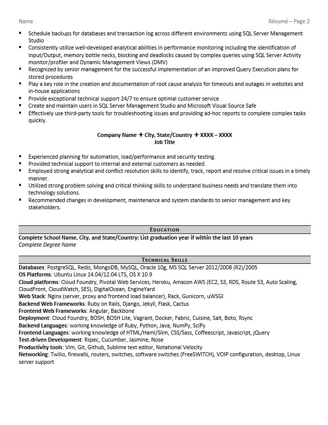 database administrator resume example tips software empty template word workabroad edit Resume Resume Database Software
