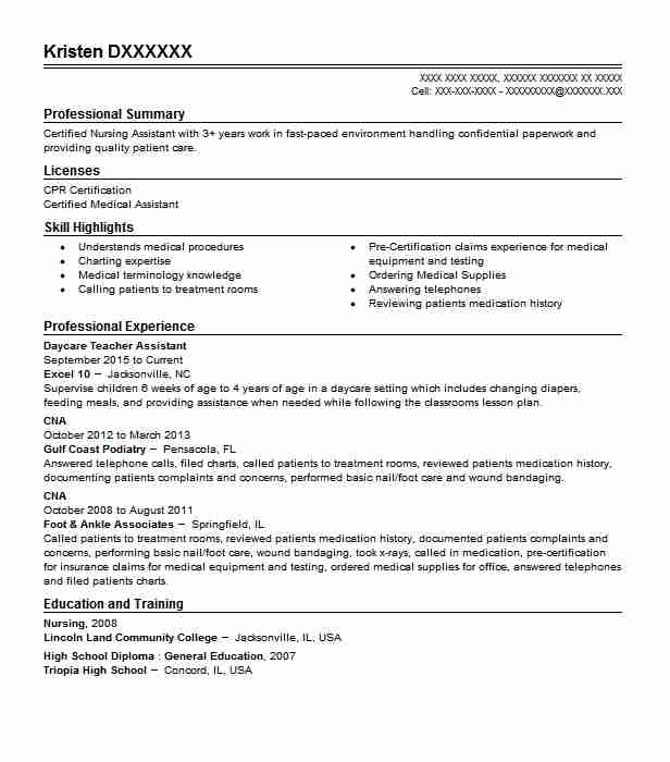 daycare teacher assistant resume example livecareer cpa mba high standard marketing Resume Daycare Teacher Assistant Resume
