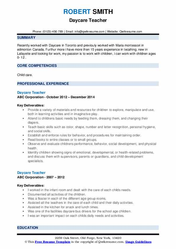 daycare teacher resume samples qwikresume skills for pdf commercial cleaning free modern Resume Daycare Teacher Skills For Resume