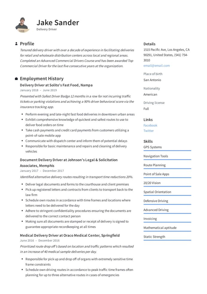 delivery driver resume writing guide examples boy sample example mba cover title for Resume Delivery Boy Resume Sample