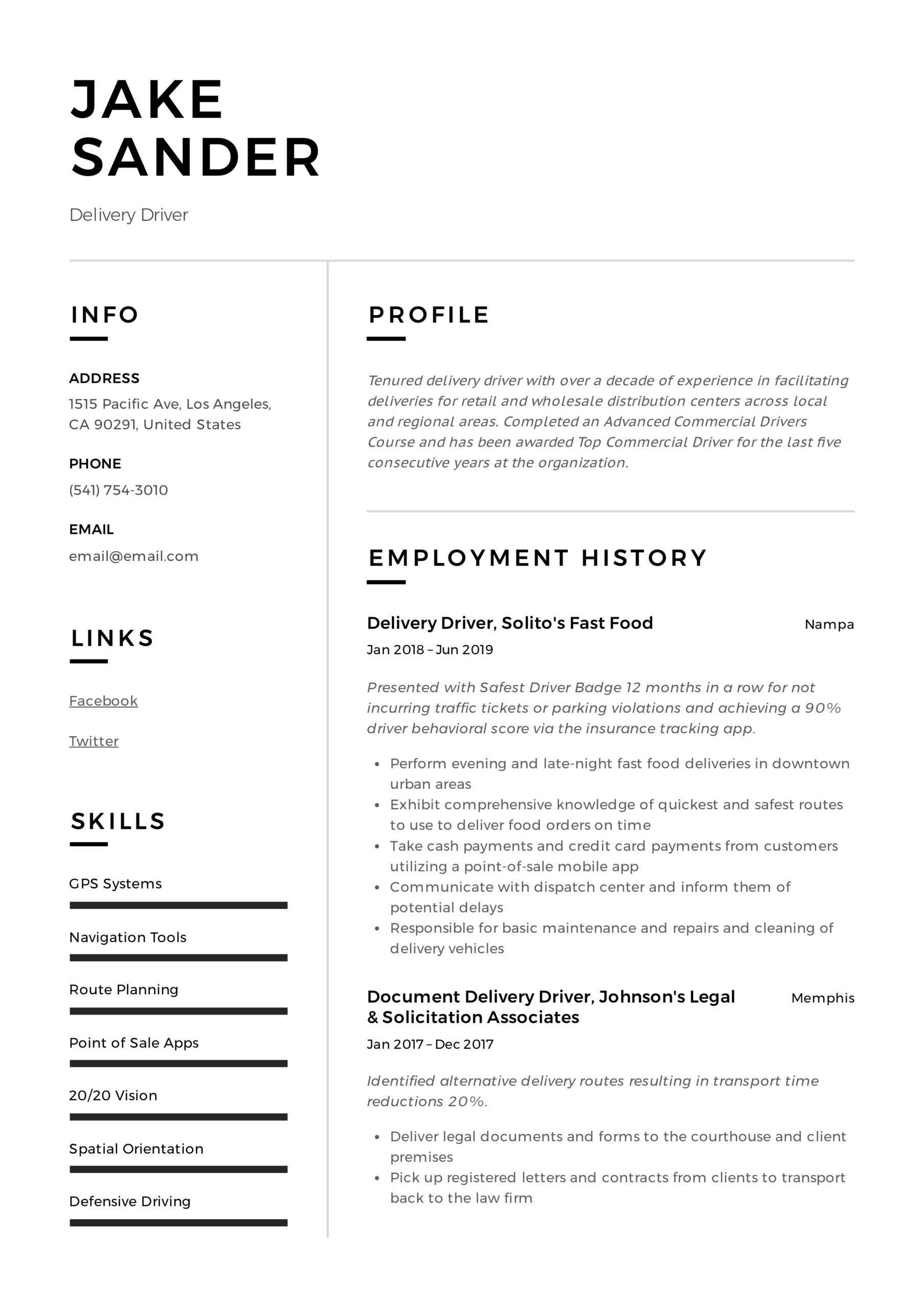 delivery driver resume writing guide examples route sample example references free Resume Route Driver Resume Sample