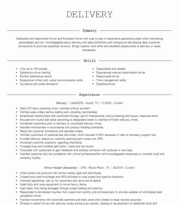 delivery resume example postmates can you put on caretaker examples data entry sample Resume Can You Put Postmates On Resume
