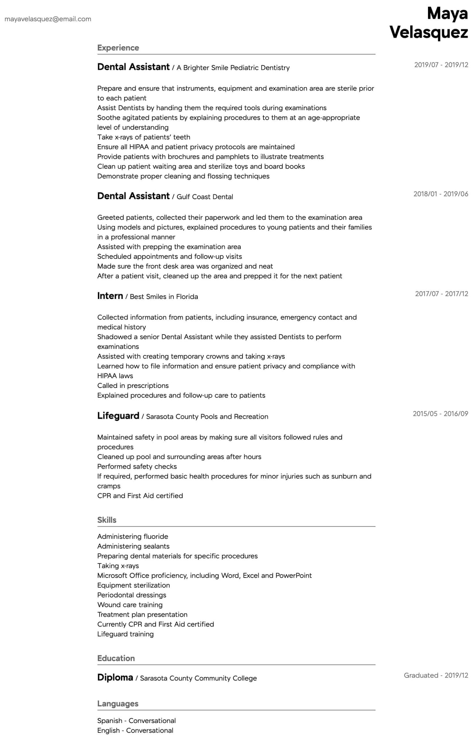 dental assistant resume samples all experience levels intermediate medical office manager Resume Dental Assistant Resume