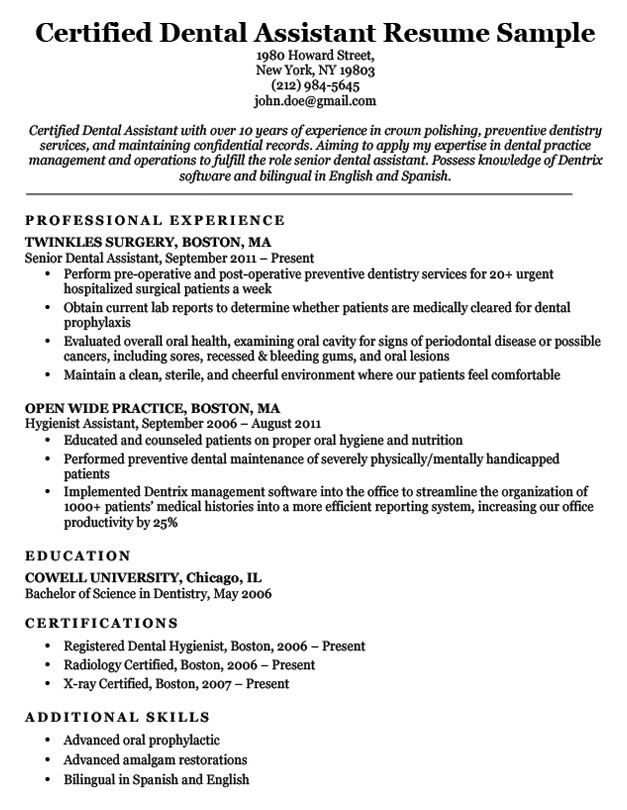 dentist assistant resume samples ipasphoto dental certified sample oil and gas safety Resume Dental Assistant Resume