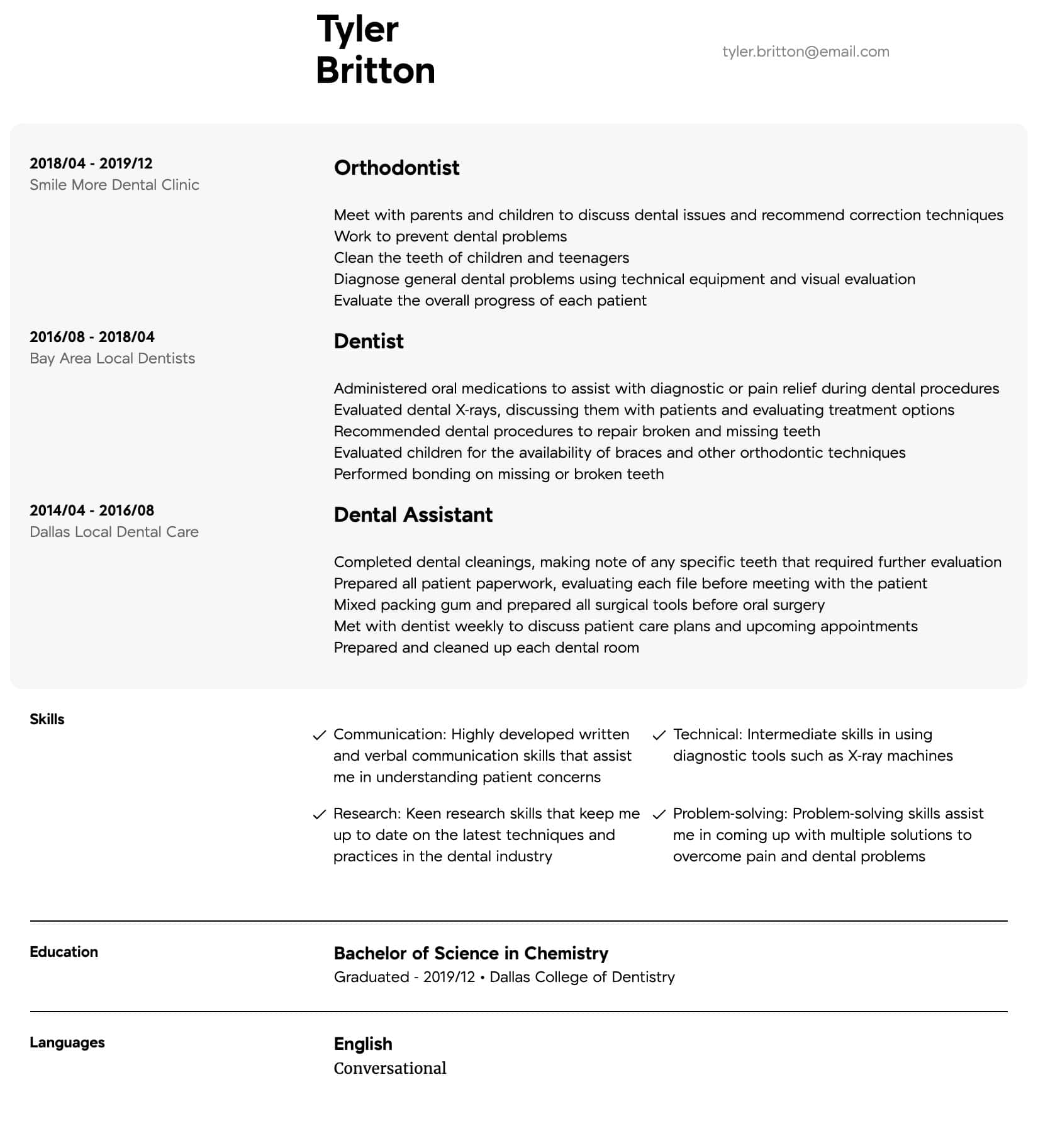 dentist resume samples all experience levels availability example intermediate Resume Availability Resume Example