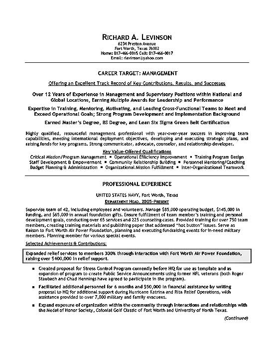 department manager resume example for military members military2a enterprise risk Resume Resume For Military Members