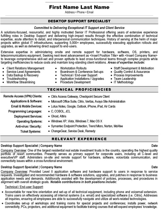 desktop support specialist resume sample template computer examples telecom project Resume Computer Support Specialist Resume Examples