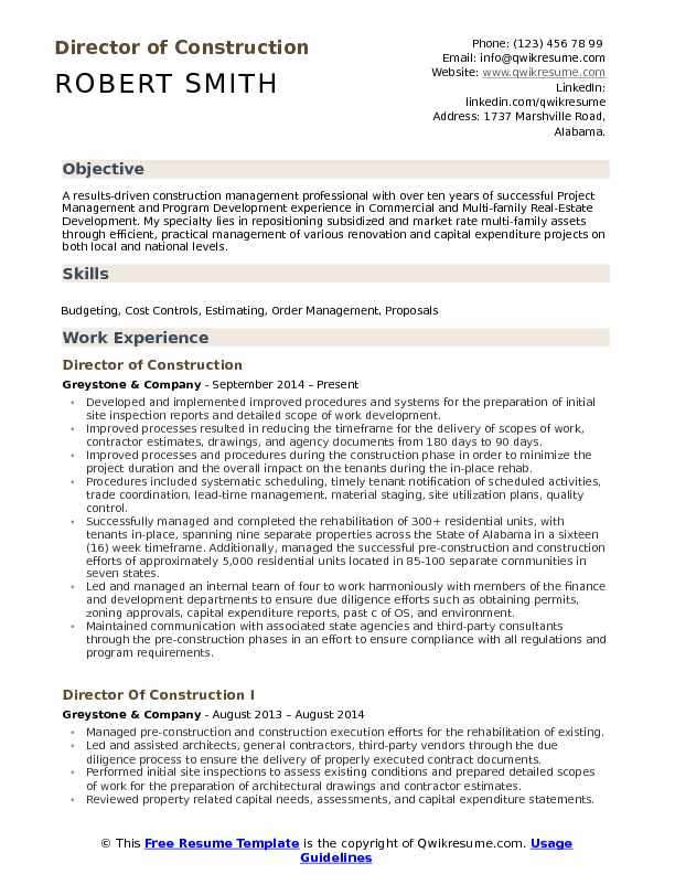 director of construction resume samples qwikresume president pdf areas strength examples Resume Construction President Resume