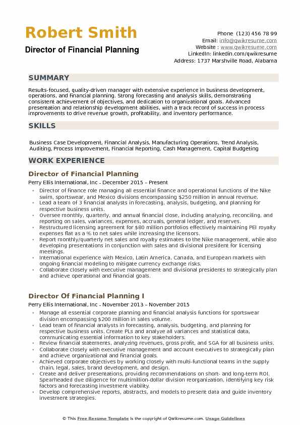 director of financial planning resume samples qwikresume planner pdf attractive everest Resume Financial Planner Resume