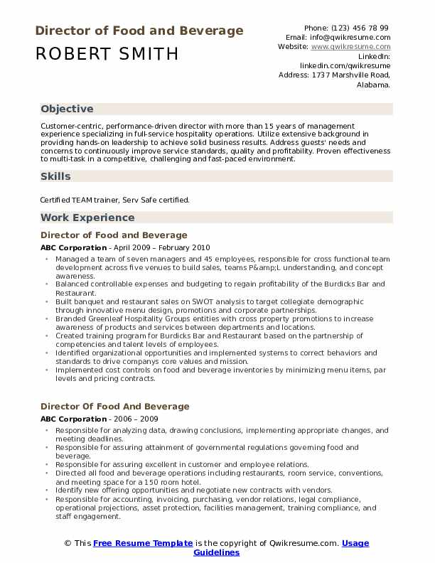 director of food and beverage resume samples qwikresume sample pdf transportation Resume Food And Beverage Director Resume Sample