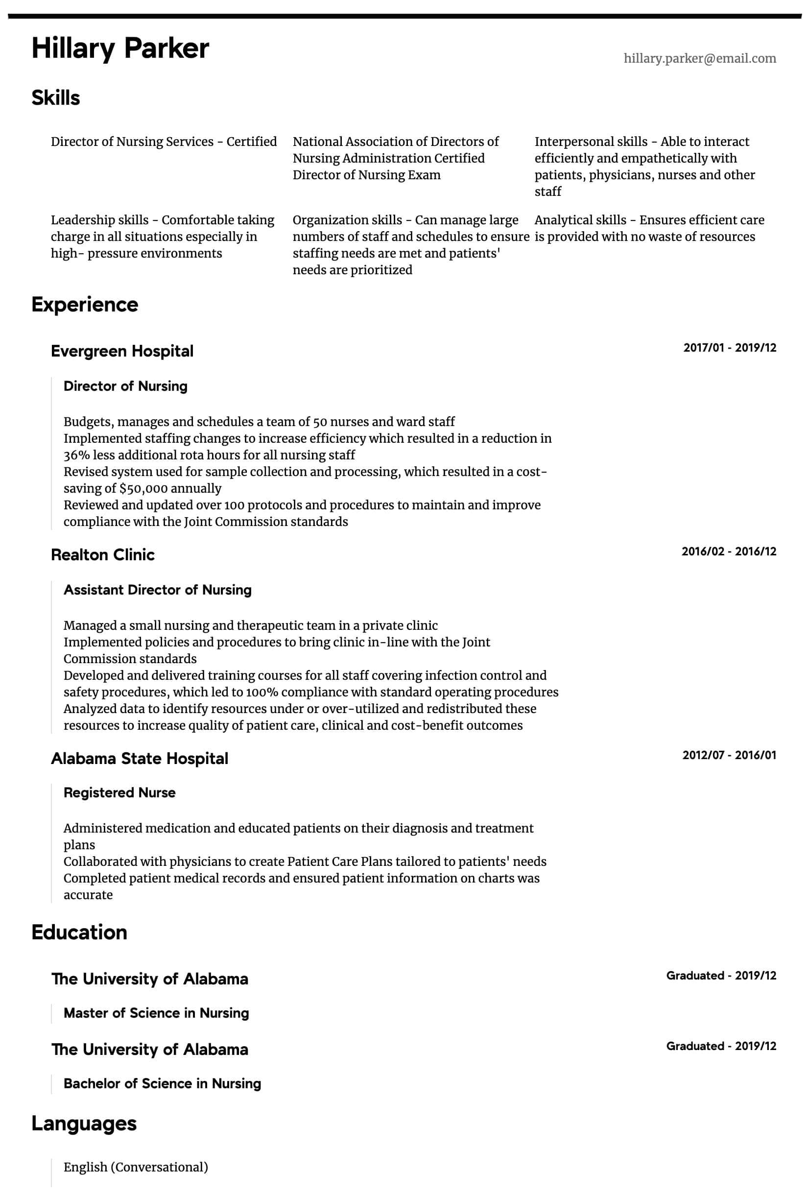 director of nursing resume samples all experience levels action verbs for intermediate Resume Action Verbs For Nursing Resume