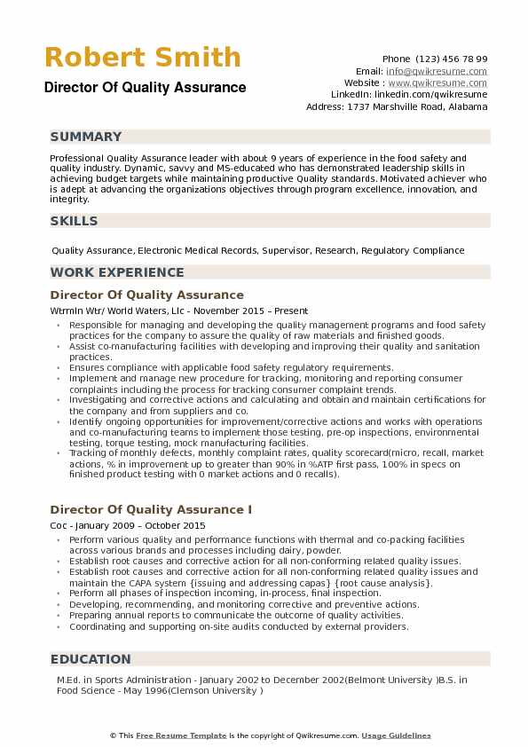 director of quality assurance resume samples qwikresume experience pdf junior loan Resume Quality Assurance Experience Resume